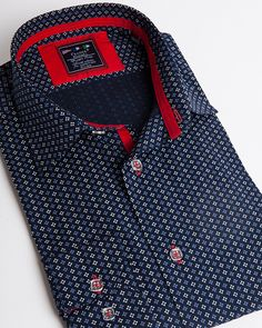 Fashion shirt | Light blue dress shirt with small flower pattern