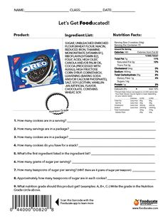 Students will use the food label to answer the questions and grade the food.  We will then scan the bar code to see how it was graded.  Note:  Their grading system is much different then mine--they use different criteria-must explain to students. http://blog.fooducate.com/nutrition-101/
