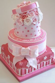 Pretty pink cake with stripes, roses, polka dots, and a bow. Gorgeous Cakes, Pretty Cakes, Cute Cakes, Amazing Cakes, Sweet Cakes, Unique Cakes, Creative Cakes, Fondant Cakes, Cupcake Cakes