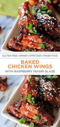 These Asian style Baked Chicken Wings are made with a sweet Best Chicken Wing Recipe, Yummy Chicken Recipes, Chicken Thigh Recipes, Yum Yum Chicken, New Years Appetizers, Party Appetizers, Appetizer Recipes, Healthy Gluten Free Recipes, Healthy Eating Recipes