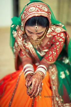Orange, Red & Green Bridal #Lehenga.