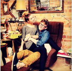 "Tyler Oakley and Zoella in Tylers natural habitat - ""grandma chic, england"" British Youtubers, Best Youtubers, Markiplier, Pewdiepie, Zoe Sugg, Tyler Oakley, Danisnotonfire, Zoella, Phil Lester"
