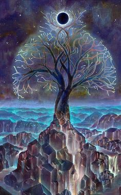 Cool art of tree painting over rocks that look like glowing cities with eclipsed moon.