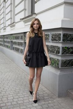 chic schoolgirl outfit ideas - cute body skimming, drop waist high-neck dress worn with sexy low cut pointy toe heels and a clutch // fashion mugging