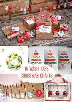 If you've never used washi tape, the holidays are the perfect time. These 15 DIY Christmas washi tape crafts are perfect for gifts and home decor. Use for wrapping, tree cards, ornaments and more. You'll love these ideas! Christmas Projects, Holiday Crafts, Holiday Fun, Christmas Holidays, Summer Crafts, Simple Christmas, Fall Crafts, Christmas Ideas, Washi Tape Crafts