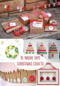 #papercraft 15 Festive #Christmas #Washi Tape Crafts - use dollar store washi tape!