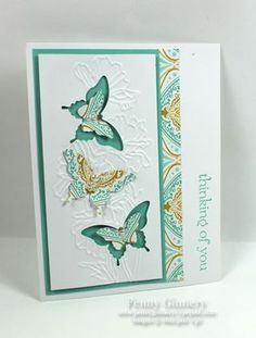 handmade card ... trip of butterflies ... luv how she played with punching, layering, and negative space ... great card! ... Stampin'Up!