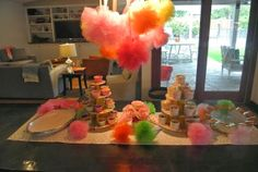For the Love of Character: Party Crasher! 3 year old birthday party; tulle poofs!