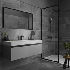 4 Facts About Black Slate Tile Bathroom That Will Blow Your Mind Small Bathroom Tiles, Bathroom Tile Designs, Modern Bathroom Design, Bathroom Interior Design, Bathroom Flooring, Grey Bathroom Wall Tiles, Light Grey Bathrooms, White Bathroom, Bad Inspiration