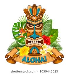 Illustration of Tiki tribal wooden mask, tropical exotic plants and signboard of bar. Isolated on white background. vector art, clipart and stock vectors. Tiki Hawaii, Hawaiian Tiki, Hawaiian Theme, Vintage Tiki, Vintage Tin Signs, Tiki Maske, Tropical Frames, Hawaian Party, Tiki Statues