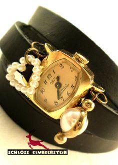 VERY VINTAGE goldene echt Vintage Wickeluhr Damen von Schloss Klunkerstein - Uhren, von Hand gefertigter Unikat - Schmuck aus Naturmaterialien, Medaillons, Steampunk -, Shabby - & Vintage - Schätze, sowie viele einzigartige und liebevolle Geschenke ... auf DaWanda.com