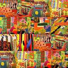 Imagine an abstract class college/quilt about something like music, or the freedom riders, or Matisse...add some yarn and oil pastels for texture and voila!  instant collaborative class art project.