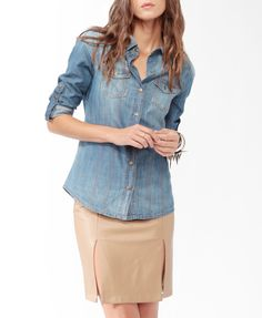 Life In Progress™ Chambray Shirt LOVE THE SHIRT..HATE THE SKIRT WITH IT