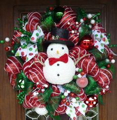 MR. SNOWMAN on Deluxe Red and White Striped Mesh
