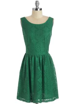 Chance for Cheer Dress - Mid-length, Green, Solid, Lace, Party, Holiday Party, A-line, Lace, Scoop