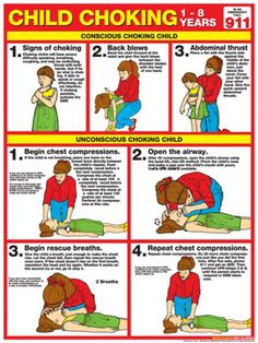 CHILD CHOKING First Aid Wall Chart Poster - 2013 Red Cross Guidelines - School, Day Care, Sports Fa