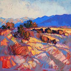 Rays of Borrego, contemporary abstracted landscape painting by Erin Hanson Contemporary Landscape, Contemporary Paintings, Landscape Art, Landscape Paintings, Oil Paintings, Landscapes, Erin Hanson, Modern Impressionism, Spring Painting
