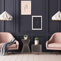 Room inspiration. Space. Pink color, Black wall. pink. decor. fabric. furniture. Spring 2018