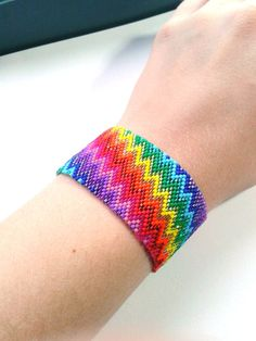 Rainbow Zigzag Beaded Cuff by NinaRaizel on Etsy, $35.00