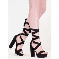 84ceda4c486 Party Platform Faux Suede Tie-Up Heels
