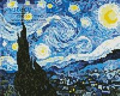 Cross Stitch - Mini The Starry Night Blue cross stitch pattern. This mini counted cross stitch pattern was created from a painting by Vincent van Gogh. Only full cross stitches are used in this pattern. Cross Stitch Art, Counted Cross Stitch Patterns, Cross Stitch Designs, Cross Stitching, Cross Stitch Embroidery, Embroidery Patterns, Hand Embroidery, Intarsia Patterns, Beginner Embroidery