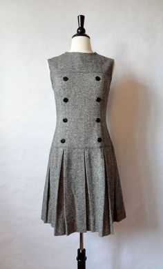 60s mod dress / herringbone tweed jumper / drop waist scooter dress / preppy schoolgirl / women dress medium