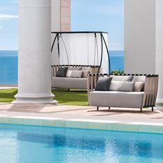 A two-seat bench with luxurious waterproof grey cushion seat and back cushions, Swing provides the perfect retreat in the hot summer sun with a beautiful white stone curtain system.