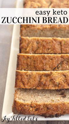 Keto Zucchini Bread - Low-Carb, Keto, Grain-Free, Gluten-Free, THM S - Keto Desserts - bread recipe Low Carb Zucchini Bread, Zucchini Bread Recipes, Carb Free Bread, Zucchini Noodles, Gluten Free Low Carb Bread Recipe, Gluten Free Carbs, Grain Free Bread, Ketogenic Recipes, Low Carb Recipes