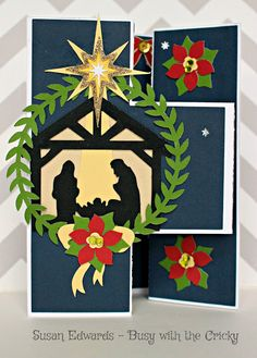 Busy with the Cricky: Christmas and Hanukkah Cards using Cricut Flower Market, A Quilted Christmas,  Teresa Collins Dec 25, Anna's Winter Wonderland
