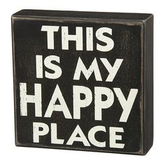 ''Happy Place'' Wooden Box Sign Art