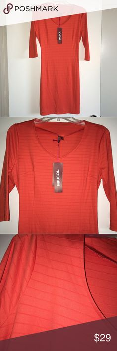 """Orange dress Cute nylon and elastane orangish-red dress with V neck and 3/4 sleeves. Cute embossed stripe in the fabric. Says XL but more like a L (about a 12). BRAND NEW NEVER WORN!!! 36"""" from shoulder to hem. Miusol Dresses Midi"""