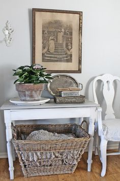 VIBEKE DESIGN basket for blankets tucked under console table