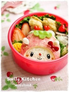 Strawberry rabbit bento