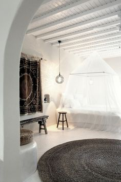 ceiling, arch, rug, wall hanging...love