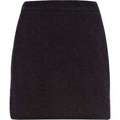 Black textured jacquard mini skirt