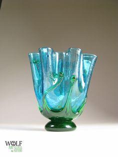 Blown Glass Vase Light Sapphire Blue Fluted Sepal by wolfartglass, $85.00