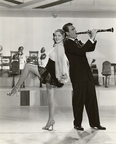 "Lana Turner and Artie Shaw  in the film ""Dancing Co-Ed"", 1939."