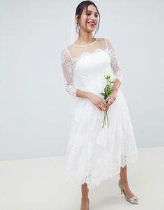 ASOS EDITION - Robe de mariage et de bal de promo mi-longue en dentelle à  manches longues at asos.com f50c44e1a90a
