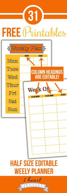 Editable weekly planner printable - you can edit each column to suit your needs! This is half letter size to fit well in junior discbound planners, A5 filofax planners, and more.