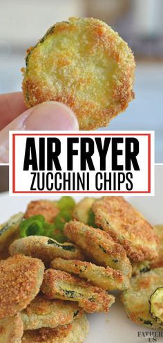 The perfect snack, side dish or appetizer, these Air Fryer Zucchini chips are coated with Panko and Parmesan Cheese for a crispy outside and tender inside. Easy to make, eat and share, they are a fun and healthy dish for just about any occasion. Air Fryer Recipes Chips, Air Fryer Recipes Low Carb, Air Frier Recipes, Air Fryer Recipes Breakfast, Air Fryer Dinner Recipes, Air Fryer Chips, Air Fryer Recipes Appetizers, Air Fryer Recipes Vegetarian, Meat Appetizers
