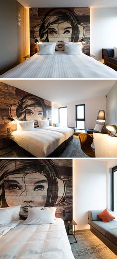 Make An Artistic Headboard For Your Bedroom By Painting A Mural On Wood