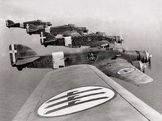 Savoia-Marchetti S.79 bombers of the Regia Aeronautica over north Africa.