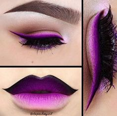 Stunning purple, black and white eye and lip makeup. Done in graduation, so it looks like airbrushing or a painting. By fantastic artist Depeche Gurl.