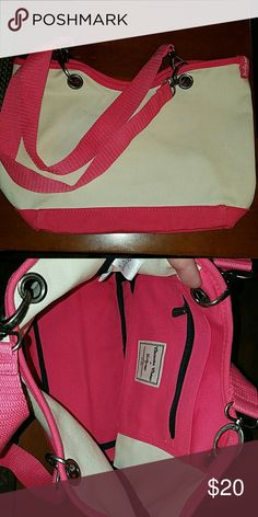 New canvas tote  bag.  Thirty One. Brand new in the bag small canvas tote bag from Thirty One. White/off white and raspberry pink.13.5 x 12 x 0.9 inches thirty one  Bags Totes