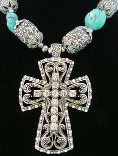 cowgirl bling LEOPARD BEADS TURQUOISE NUGGETS RHINESTONE CROSS necklace set- gorgeous! BAHA RANCH WESTERN WEAR ebay seller id SOLOEDITION