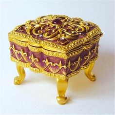 french baroque jewelry box. 24k gold