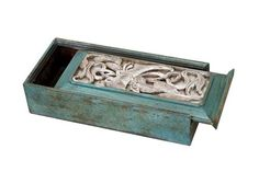 Turquoise and Silver Carved Match Box @flea_pop