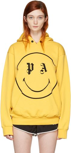 PALM ANGELS Ssense Exclusive Yellow Pa Smiling Hoodie. #palmangels #cloth #hoodie