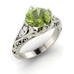 Natural Round Peridot & SI Diamond Engagement Ring in 14k White Gold- 1.1 Ct - Gemstone