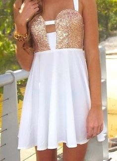 Dress: white cute gold cute sparkly sparkle clothes prom